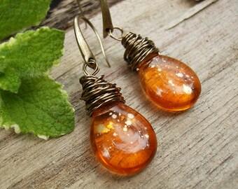 Orange Teardrop Earrings, Orange Glass Earrings, Czech Glass Earrings, Brass Wire Wrap, Pear Earrings, Bohemian, Boho Tear Drop Earrings