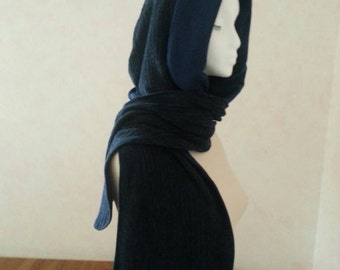 Winter hat. Winter scarf. Hood scarf. One piece. Gothic head dress. Hoodie. Scarf. Ladies scarf. Scoodie. Black hooded scarf