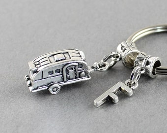 New Camper Gift • Personalized Camper Keychain • Vintage Camper Key Ring • Glamping Camping Gift • Camping Keychain