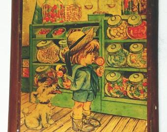 Old Vintage wooden Boy in Candy Shop Illustration Cute Children's Bedroom Kitchen 1960's