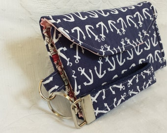 White anchors on navy blue trifold wallet with wrist strap (Maine Made)