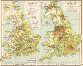 British Isles Industrial Revolution 1701 & 1915 population change historical map