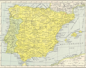 Spain and Portugal travel Barcelona Valencia Madrid for home decor Vintage Prints old maps