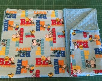 """Charlie Brown Peanuts Snoopy Linus Baby Blanket 29 """" x 29""""  &  Pacifier Blanket Holder 9"""" x 9"""""""