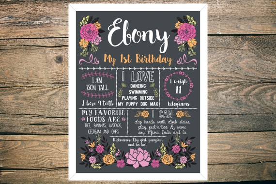 Personalised First/1st Birthday Chalkboard Sign - Girl - 11x14 inch - Printable - Bright Floral theme