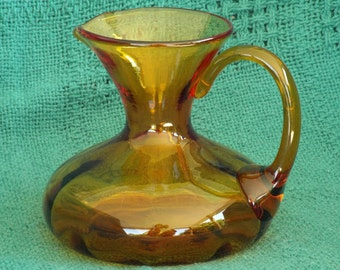 Vintage Glass Pitcher; Vintage Glass Vase