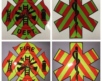 "Firefighter Star of Life Paramedic EMT EMS Decal Sticker Fire Department 4"" Vehicle 3m reflective chevron"