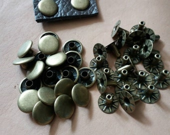 20 pcs, 12 mm. Antique Brass Round Rivets, For Leather Craft, Bag and Purse, Accessories.