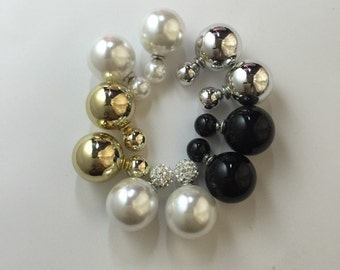 Double sided earrings,front and back earrings,pearl to pearl earrings