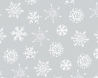 Frosty Fun Fabric Collection - Snowflakes on Light Grey Fabric by Sue Zipkin for Clothworks Fabrics - Sold by the Half Yard