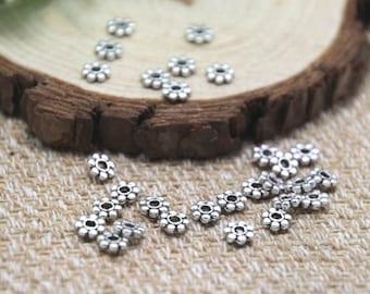 200Pcs Silver Tone Tiny Daisy Spacer Beads 4mm D1797