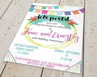 Watercolor Fiesta invitations // Papel Picado invitation // Mexican bunting // Downloadable shower invitation //  5x7 invitation