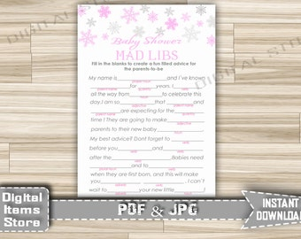 Winter Baby Shower Mad Libs Pink, Advice Parents Cards - Printable Mad Libs with Pink Snowflakes for Girl Shower - Instant Download - sp2