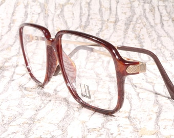 SALE 20% OFF Dunhill vintage eyeglasses frames mod. 6135 14 / golden arms with special engravings / gentlemen eyeglasses / squared frames
