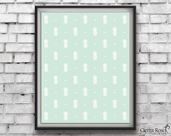 Mint Pineapple Print, Hawaii Print, Pineapple Pattern, Fruit Decor, Modern Print, Home Decor, Summer Print, Tropical Print, Instant Download