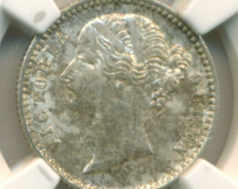 India Silver 1840 (B&C) 1/4 Anna KM-454.2 Plain 4 MS61 NGC