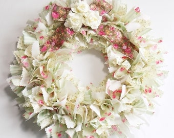 Soft green and pink rose fabric wreath - shabby chic decor - rag wreath - English cottage decor - Rustic décor