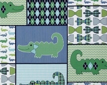Nursery Little Gentleman Alligator Crocodile Bow Tie Quilt Patch Blue Cotton Fabric by Springs Creative per Fat Quarter or per Metre
