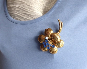 Figural Blue Rhinestones Flower Brooch Pin 1940s Gold Pin Large Statement Gorgeous Prom Party