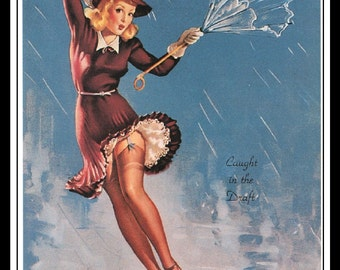 "Gil Elvgren Vintage Pinup Illustration ""Caught In The Draft"" Sexy Pinup Mature Wall Art Deco Book Print 5.5"" x 4"""