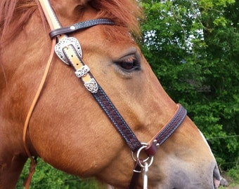 Western style bridle, mahogany/natural/turquoise (hand) stitching, western bridle, tooling, leather