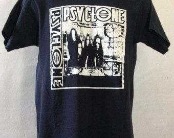 Vtg Early 90s Psyclone T-Shirt Black M Heavy Metal Grunge Band