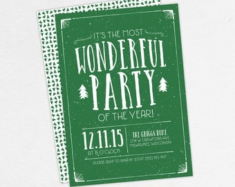 Christmas Party Invitations, Holiday Party Invitations, It's The Most Wonderful Party of the Year Invitations, Printable Christmas Invites