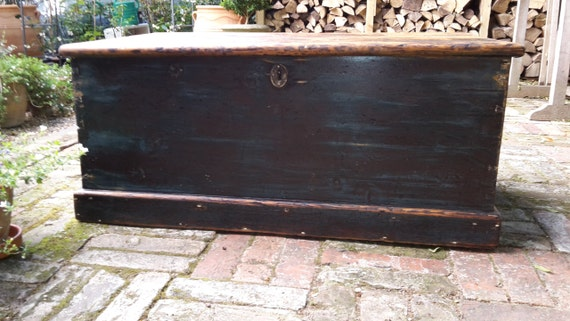 Vintage Distressed Blue Black Pine Chest Trunk Storage Rustic