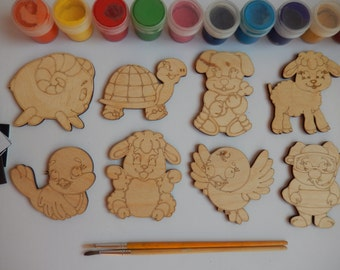 Summer Animals Cutouts, Kids' Coloring Kit, Adult Coloring Kit, Wooden Cutouts, Unfinished Shapes, Animal Shapes, Laser Cut Wood Shapes 048