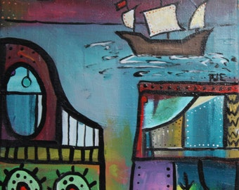 9 x 12 inch original acrylic painting- Sea Junk