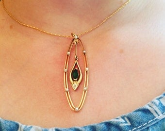 Vintage Art Deco Style Emerald and Seed Pearl Lavalier, Pendant in 15k Yellow Gold