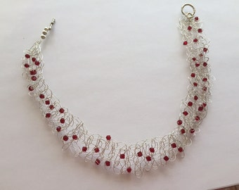 5255 Sterling Silver Choker Type Necklace with Red Swarovski Crystals