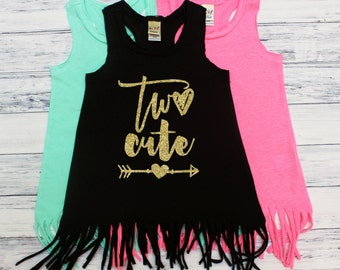 Two cute - TWO Year Old - Second Birthday - Birthday Girl - Fringe Dress - Beach Cover Up - Summer Dress - Boho Babe - I'm TWO Cute