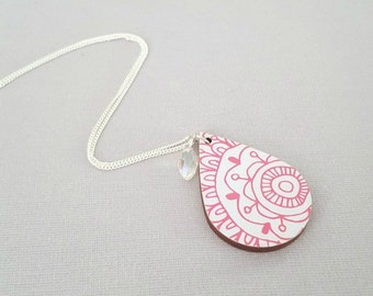 Decoupage necklace, statement necklace, sterling silver necklace, gift for her, wood jewellery, wood necklace, pink necklace, flower pendant