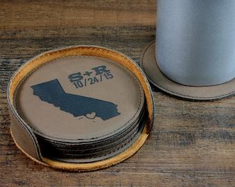 Personalized State Coaster Set, Customized Round Leather Coasters, Engraved Coasters, Custom Wedding Coasters, Personalized Wedding Gift