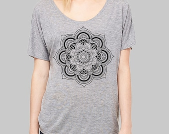 Scoop Neck Tee, Mandala, Mandala Shirt - slouchy tee, dolman top, slouchy shirt, dolman sleeve top, womens tops, tshirt, scoop neck