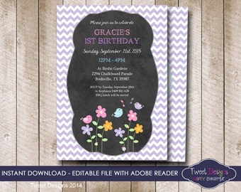 BIRD Invitation, Instant Download BIRD Party Invitation, 1st Birthday Invitation, Girl 1st Birthday, Bird, Edit yourself with Adobe Reader