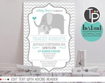 elephant baby shower invitation instant download mint teal elephant invitation boy baby shower