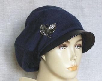 Sheepskin cap, women's cap, winter cap, Italian sheepskin, lambskin leather.
