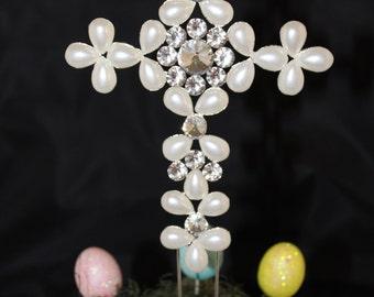 CROSSCAKE TOPPER,PEARL Rhinestone Crystal Rhinestone Covered pearl Silver MonogramRoma CrossChurch Baptism ChristeningCakeTopperCross,11inch