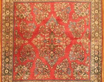 Antique Persian Sarouk Rug Size 3'4''x3'4''