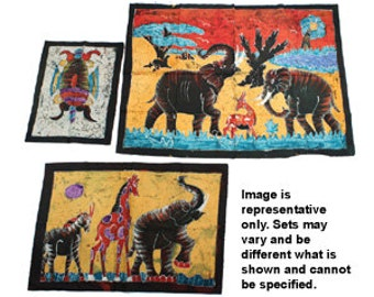 Set Of 3 Assorted Batik Paintings
