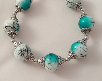 White & Green Glass Bead Swirled Black - White Glass Bead Bracelet - White Bracelet - Women's Bracelet - Women's White Bracelet - Bracelet