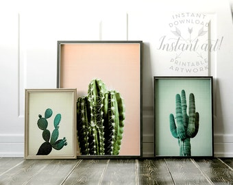 Cactus print Set of 3 PRINTABLE art,modern art,minimalist art,abstract print,mid-century modern,southwestern decor,gallery wall,cacti prints