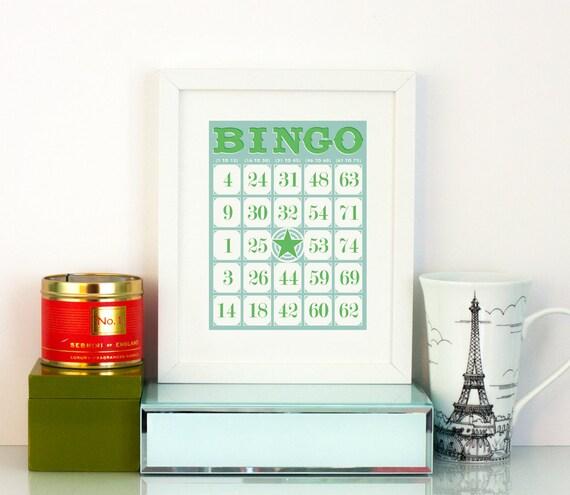 Decorative Bingo Card Printable Art Game Room Decor Play