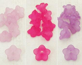 Acrylic Flower Bead Mix, Light Purple, Pink, Violet Lucite Flowers, 11x7, Lucite Flower Beads, Bead Caps