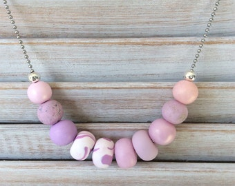 Pastel lilac necklace, beaded necklace, polymer clay necklace handmade by rubybluejewels