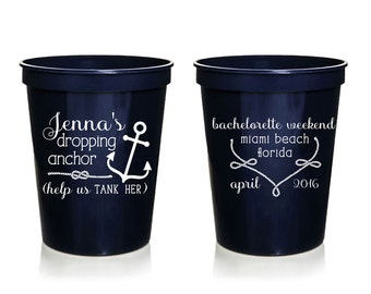 Nautical Bachelorette Cups, Custom Bachelorette Cups, Personalized Bachelorette Cups, Plastic Cups, Bachelorette Favor