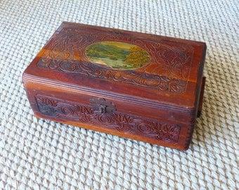 Vintage Antique Carved Cedar Box Perhaps for Essetial Oils