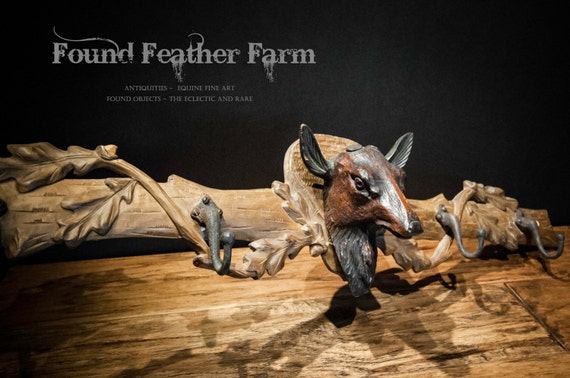 Wonderful Antique Black Forest Handcarved Wooden Coat Rack with Deer Head